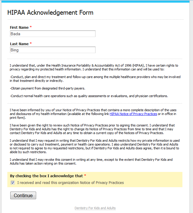 Setup HIPAA Acknowledgement Online Form – YAPI Blog Site