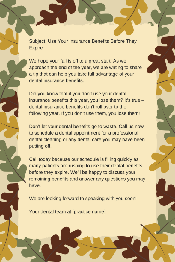 Remind Patients to Use Their Benefits Before They Expire; end-of-year-insurance-letter